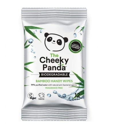 Bambusowe chusteczki nawilżane z wyciągiem z aloesu i owoców - podręczne opakowanie - The Cheeky Panda - 12 szt (1)